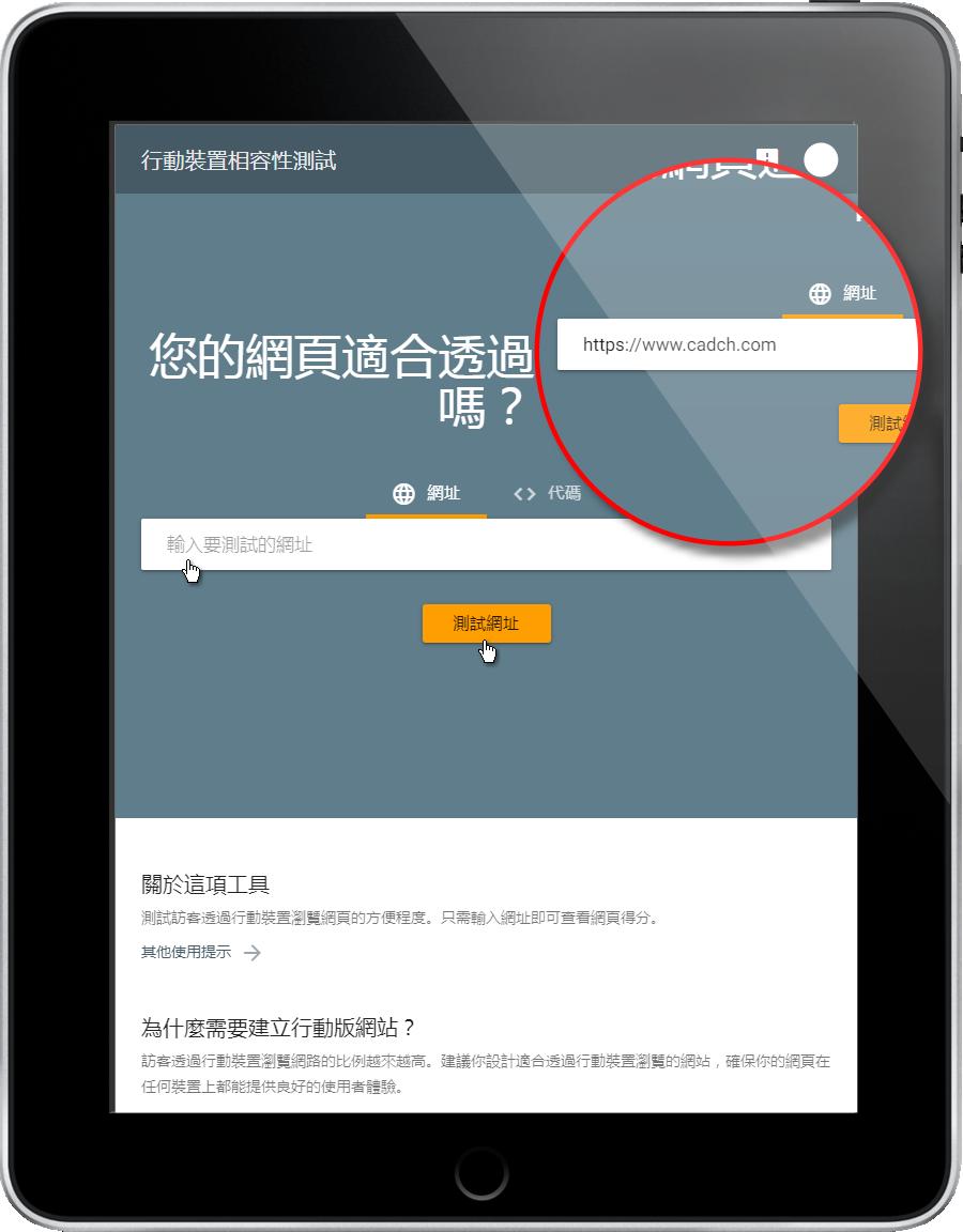 行動裝置相容性測試-輸入要測試的網址